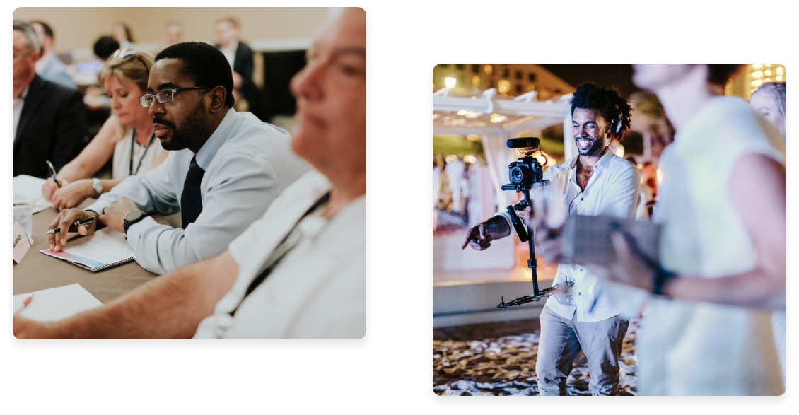 Collage of left photo of employee at work event and right photo of Videographer at Beach Event