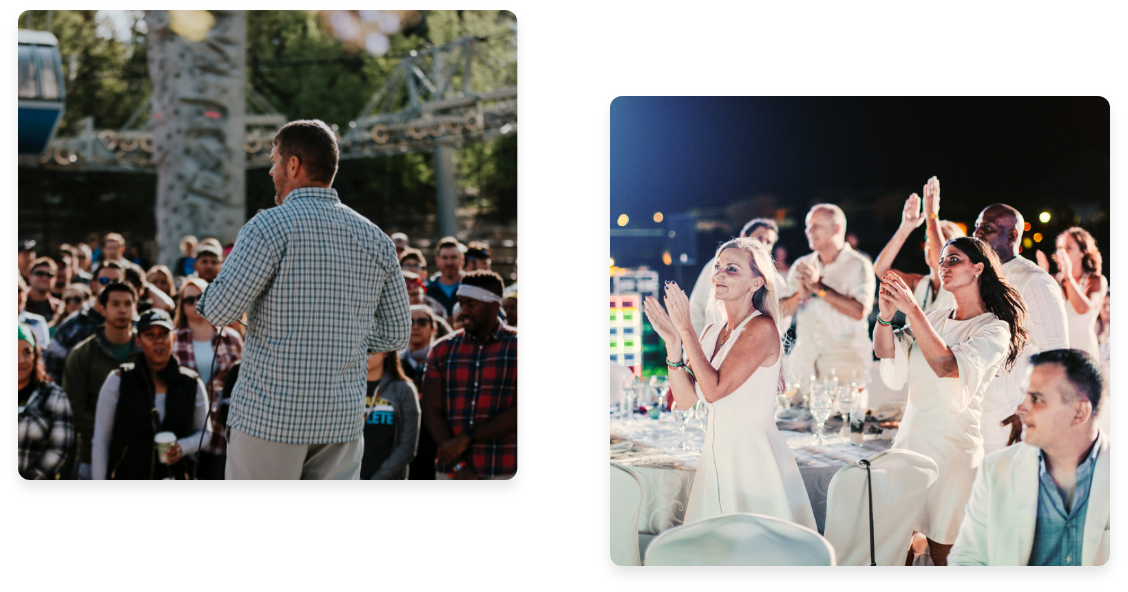 Collage with image of left of Dave Rice and image on right of people dancing at work event